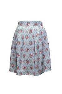 Falda con vuelo con estampado flores en tonos verdosos ¡CLASE!
