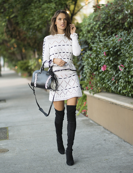 LOS ANGELES, CA - DECEMBER 01: Alessandra Ambrosio arrives for an interview at the Four Seasons on December 1, 2015 in Los Angeles, California. (Photo by Michael Bezjian/GC Images)