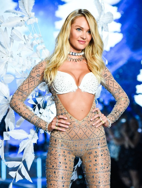 Victorias Secret Very Sexy Push-Up Bra and Very Sexy V-String Bodysuit Embellished with Swarovski Crystal and Feather Wing, Candice Swanepoel