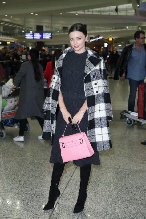 Miranda Kerr_FAY_Tartan Coat