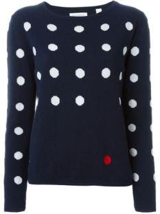 CHINTI AND PARKER- azul oscuro para este jersey con topos blancos