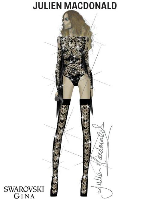 Sketch by Julien Macdonald of Beyoncé wearing a bespoke tribal bodysuit featuring Swarovski crystal