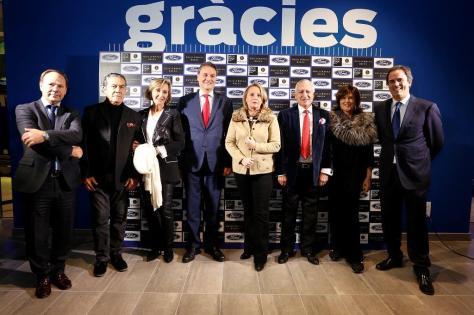 (de izquierda a derecha): Bartolomé Poyatos (Director General Grupo Montalt), Peter Aedo, Helena Presas, Jesús Alonso (Presidente Ford España), Helena Rakosnik, Eloy Durà (Presidente Grupo Montalt), Guillermina Baeza y José Luis Huguet (Gerente de Donnay).