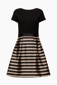 Vestido de fiesta con falda de raso a rayas 99,99 €