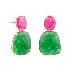 RABAT Pendientes de oro rosa con jade verde y jade rosa. 895€